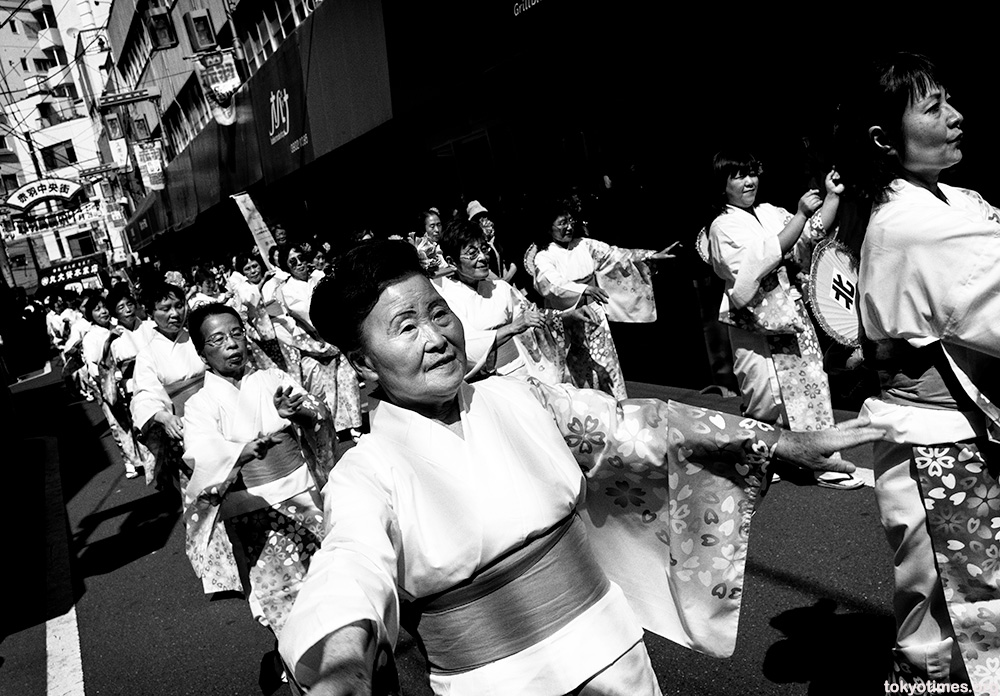 traditional Japanese dancers at a traditional festival