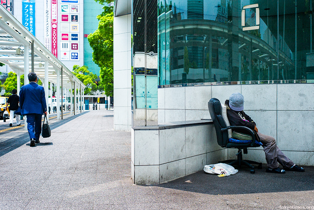bad day at the office for this homeless Japanese man