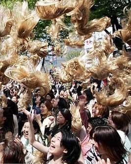 japanese girls blonde wig