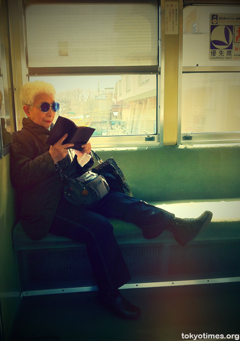 old lady on a Tokyo train