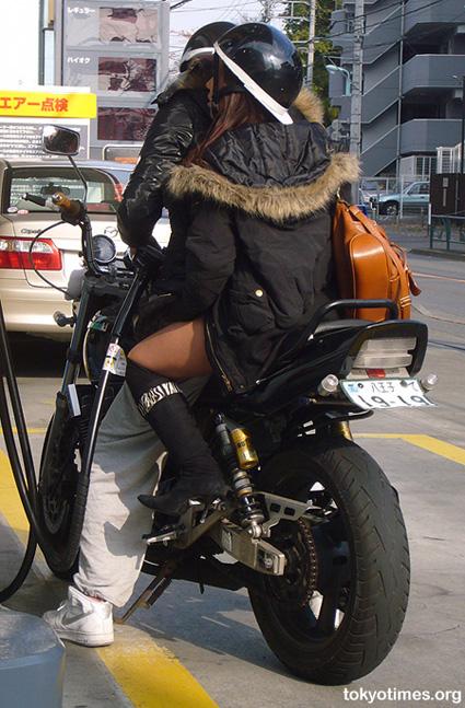 Japanese biker babe