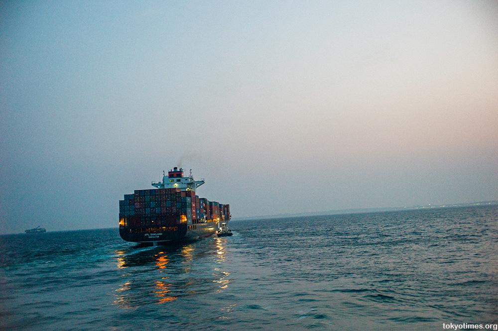 cargo ship in Japan headed for Kobe
