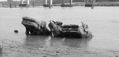 cars in river