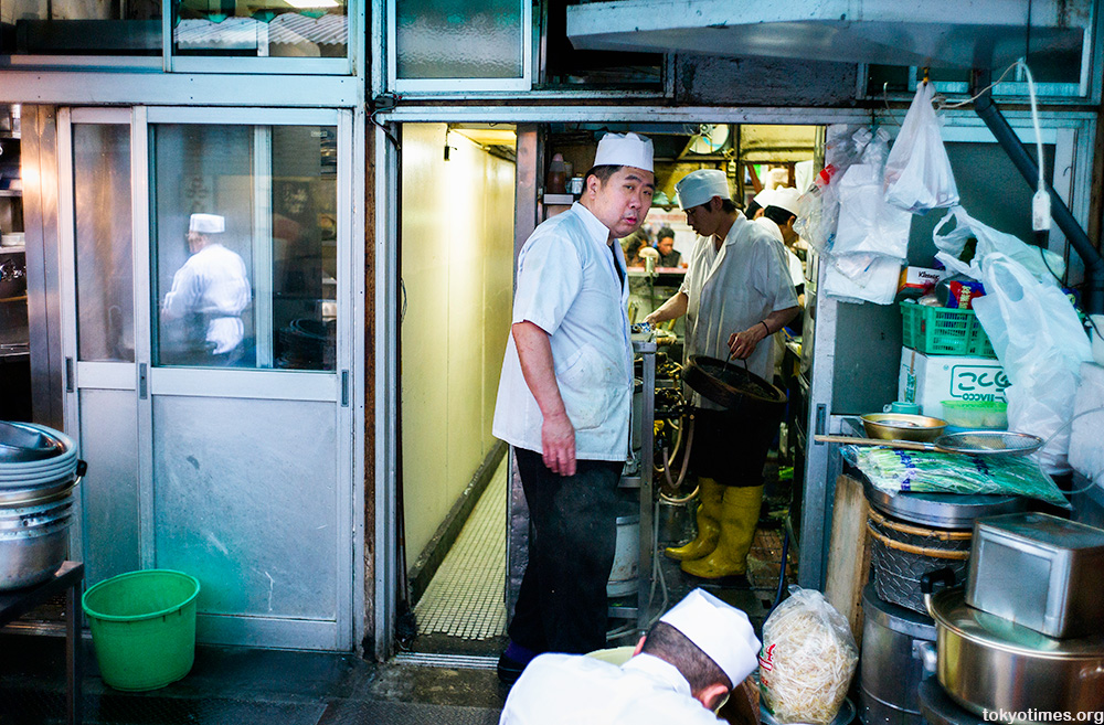 cluttered Tokyo restaurant kitchen