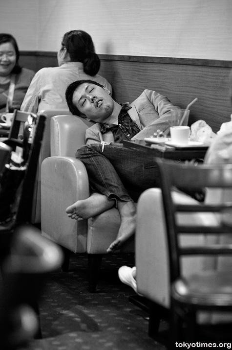 Tokyo coffee shop sleeping
