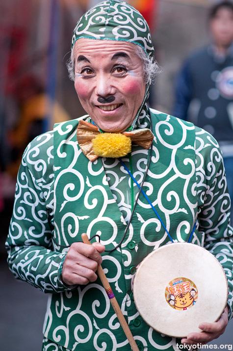colourful Japanese salesman