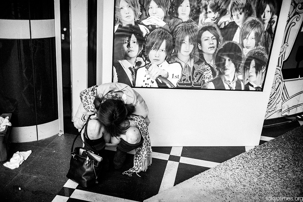 Drunk and asleep Japanese girl