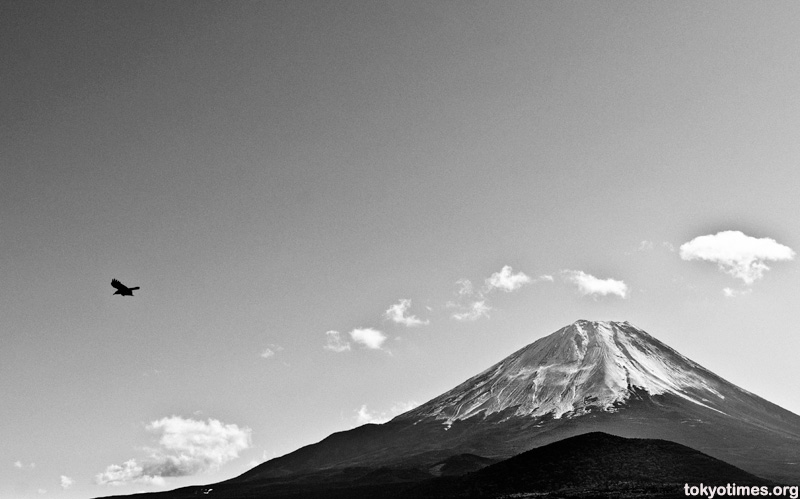 Mount Fuji in black and white