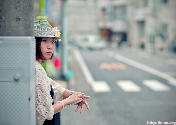 Japanese woman with an iPad