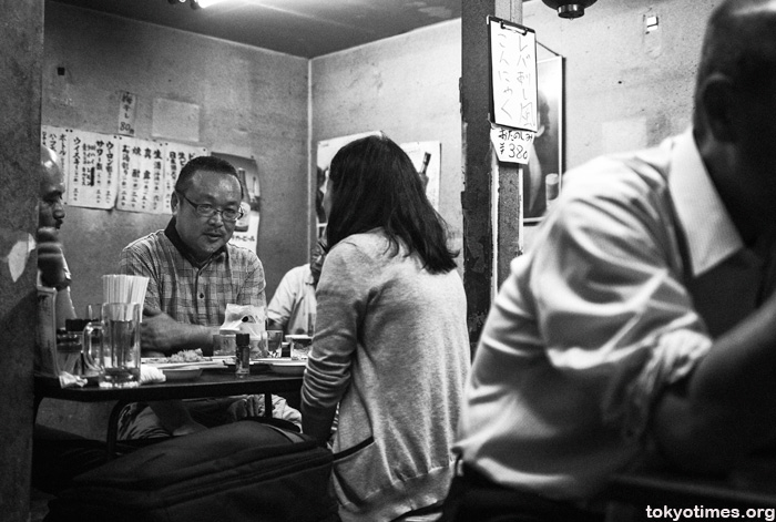 Japanese drinkers in a traditional bar