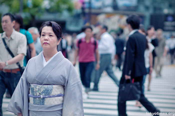 kimono at Shibuya Crossing