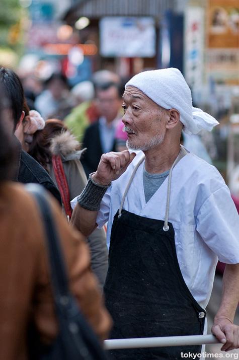 Japanese man working