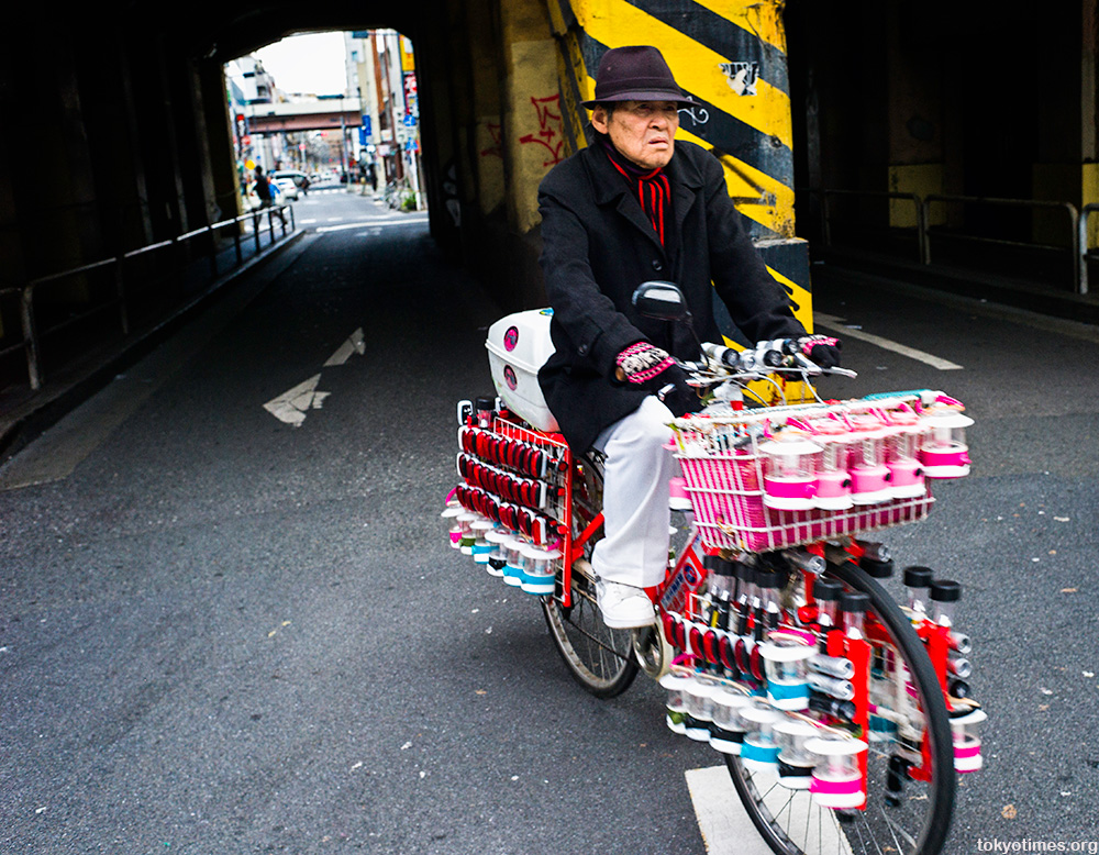 Japanese bicycle with lots of lights