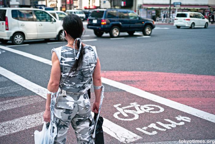 unfashionable Japanese man shopping