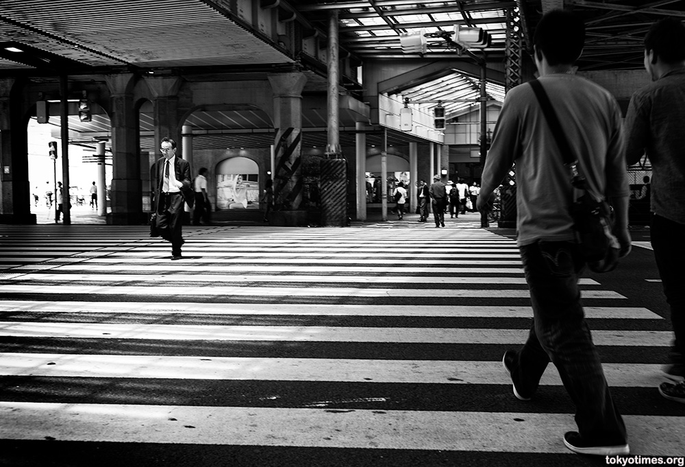 Japanese salaryman black and white