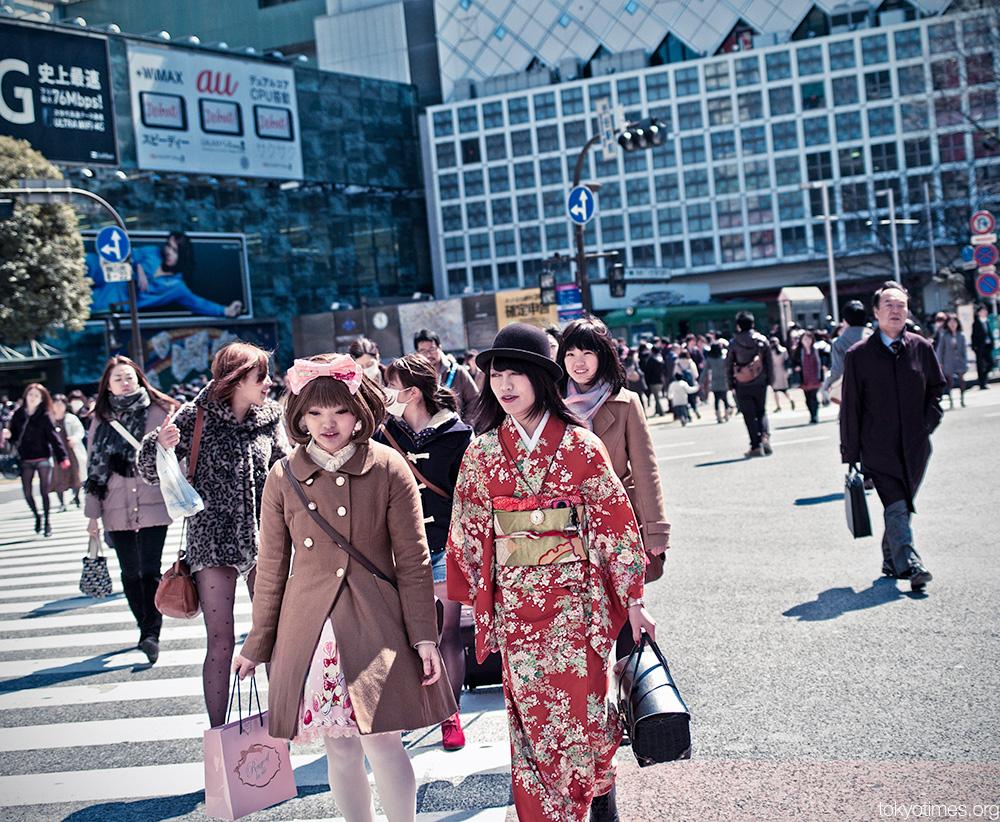 Shibuya fashion kimono