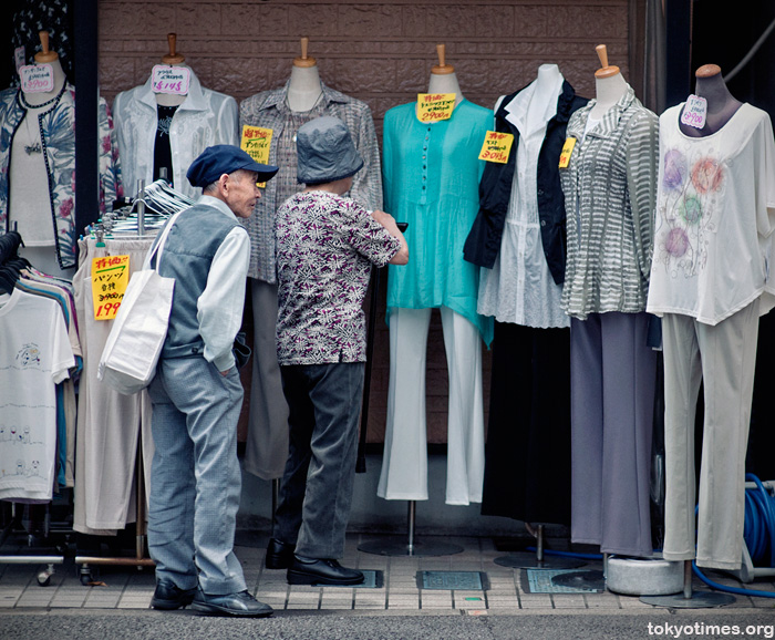 An old Japanese couple shopping in Tokyo