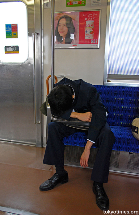 Japanese student sleeping