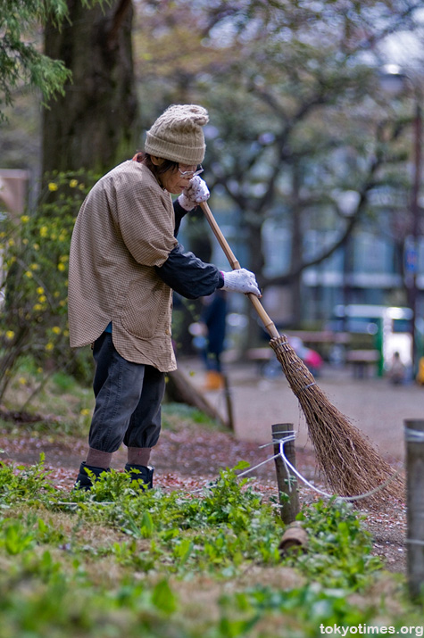 old Japanese pensioner cleaning