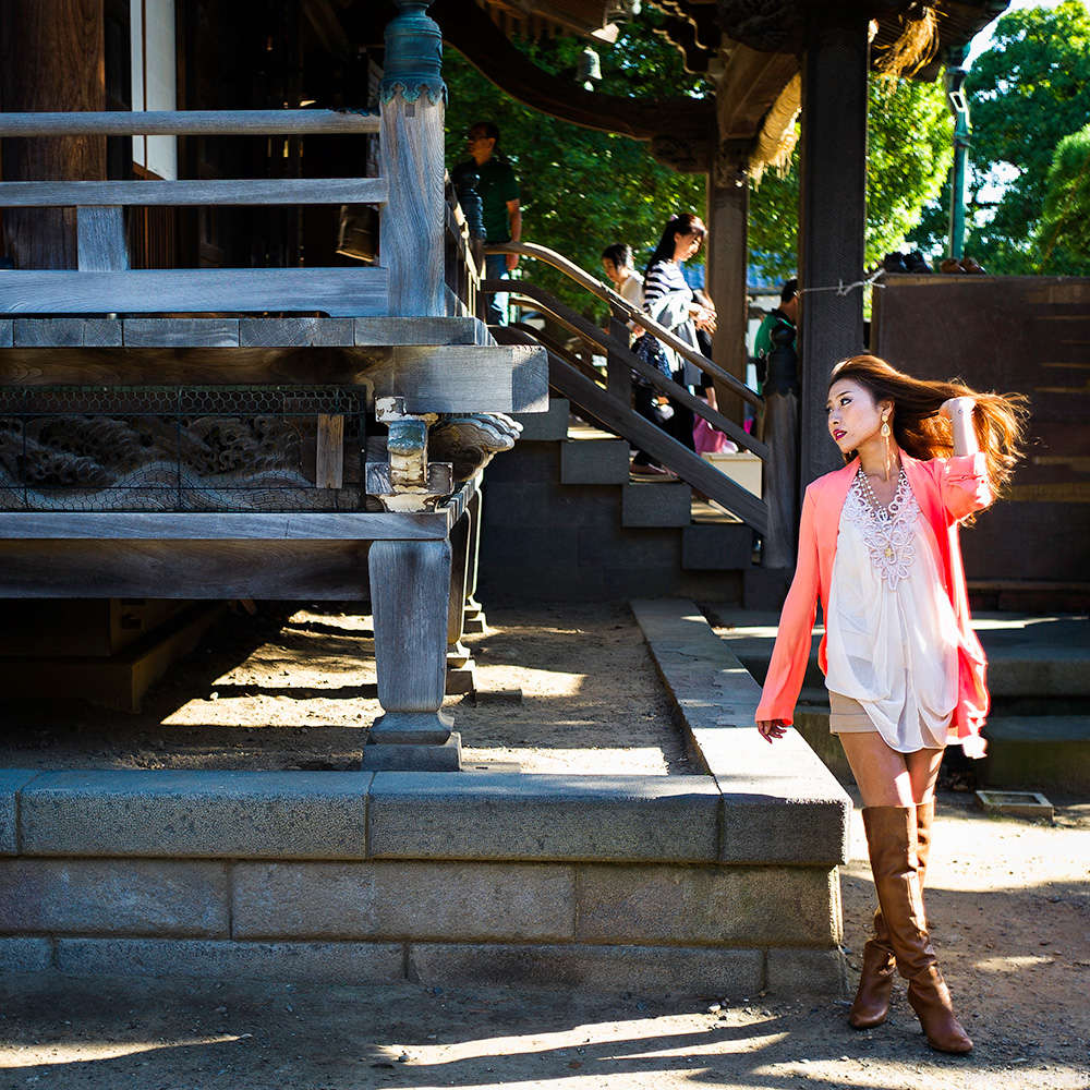 beautiful Japanese woman in a temple