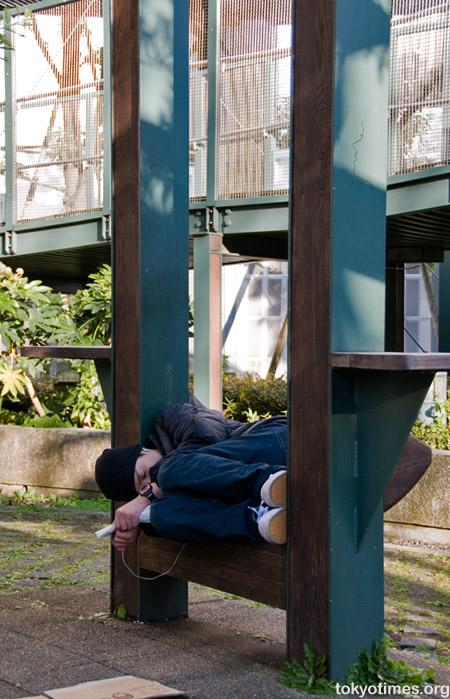 Public sleeping in Tokyo