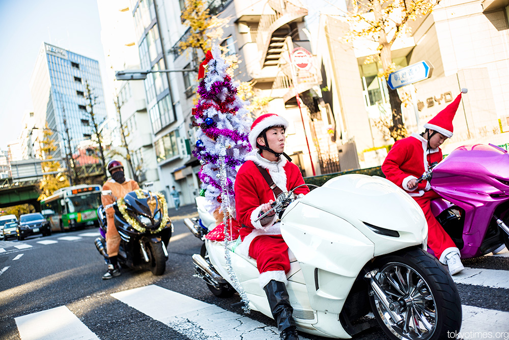 Christmas tree mounted on a Tokyo motorbike