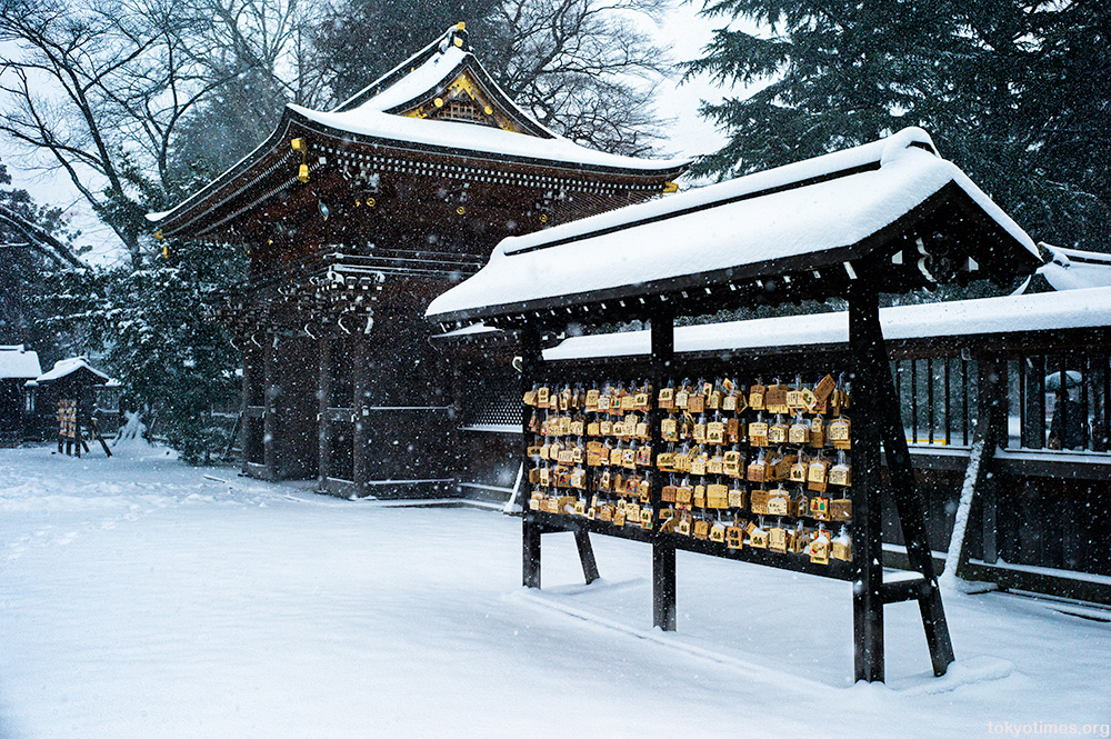 Tokyo shrine in the snow
