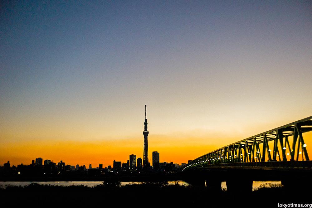 Tokyo Skytree sunset silhouette