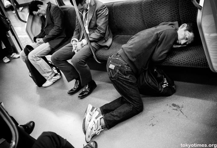 drunk Japanese salary man on a train