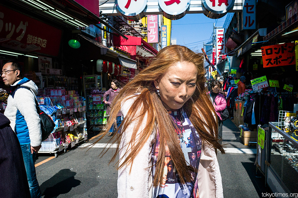 wind-swept and tanned Japanese woman