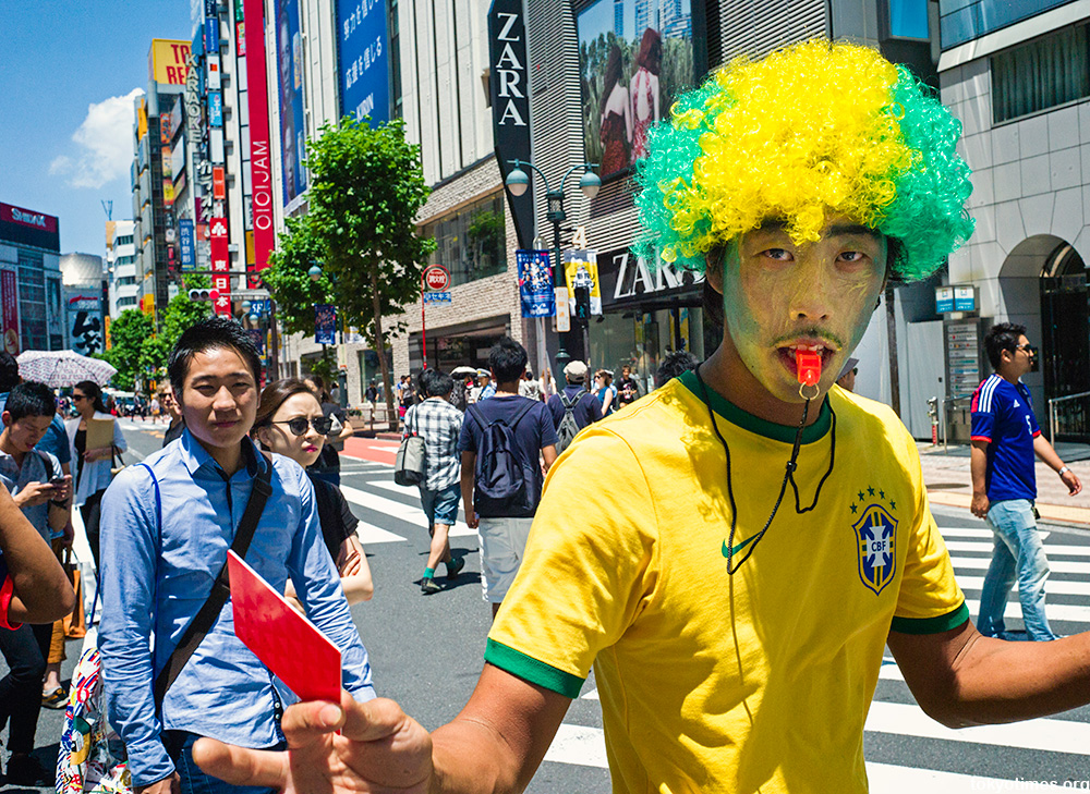 World Cup 2014 Japan fans Shibuya Crossing