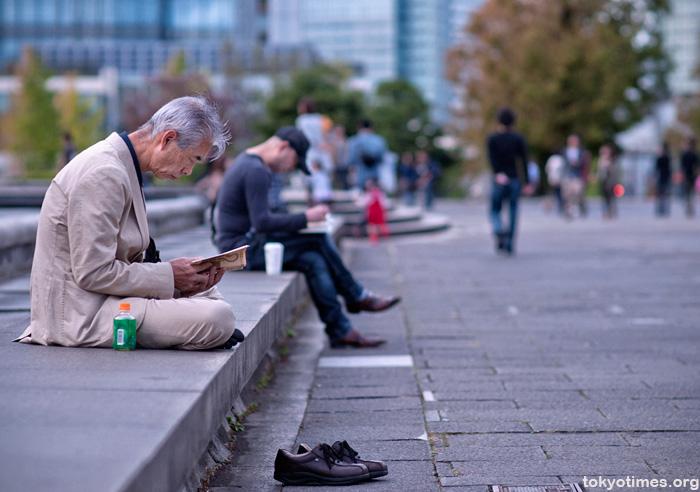 reading outside in Japan