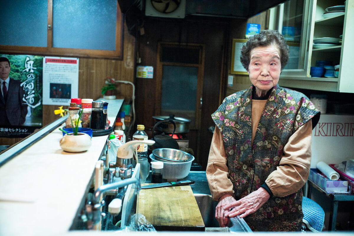 old Japanese bar owner in her 90s