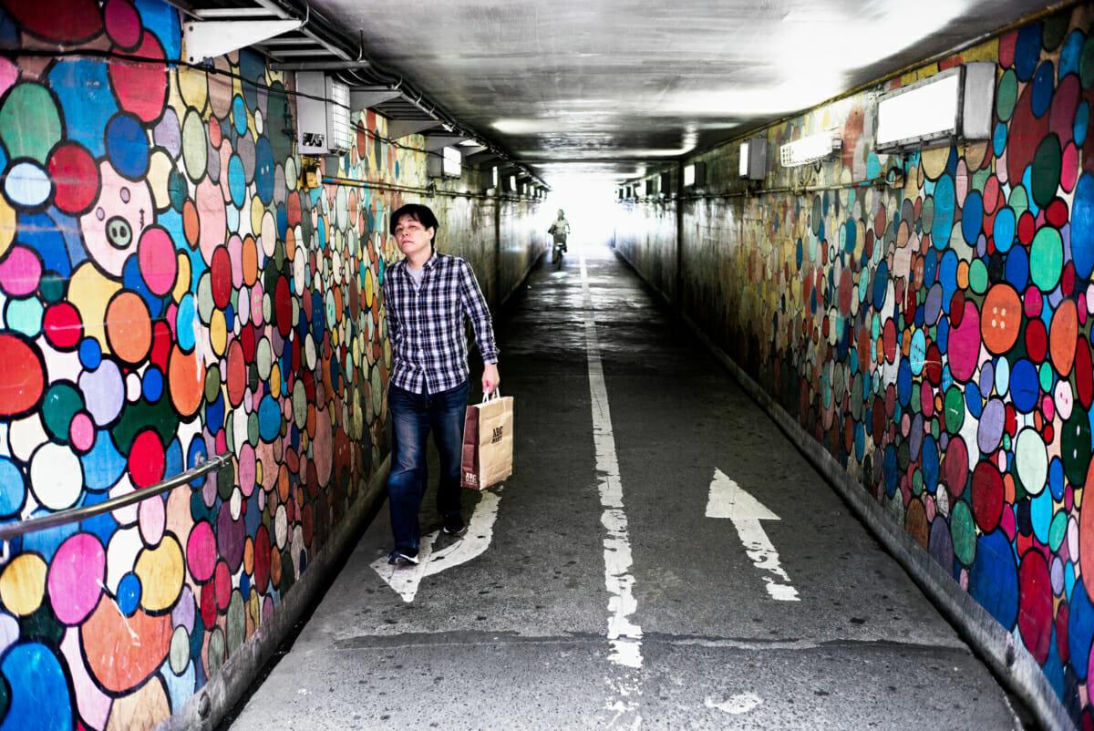 An almost kaleidoscopic Tokyo underpass