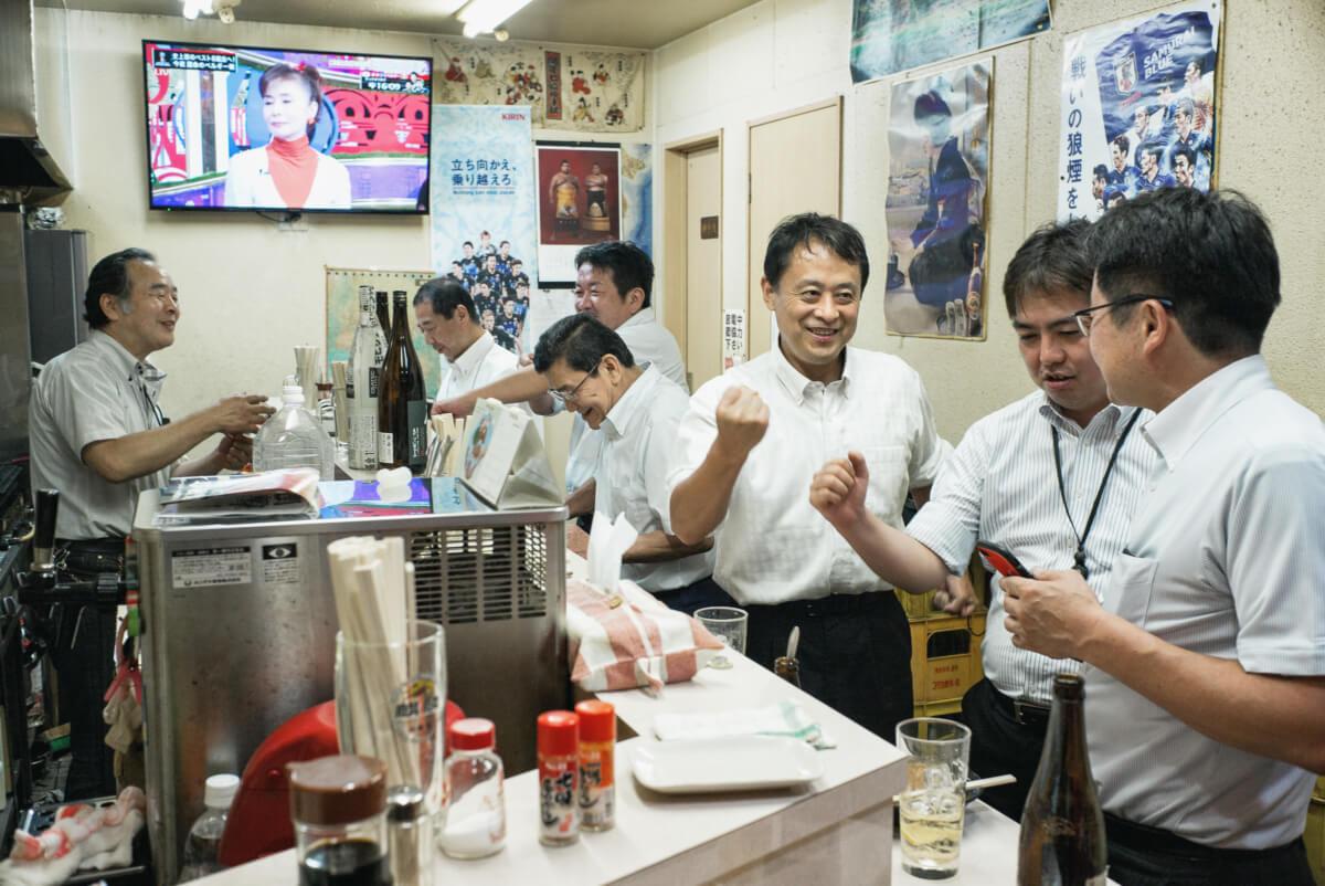 Japanese salary men drinking in Tokyo