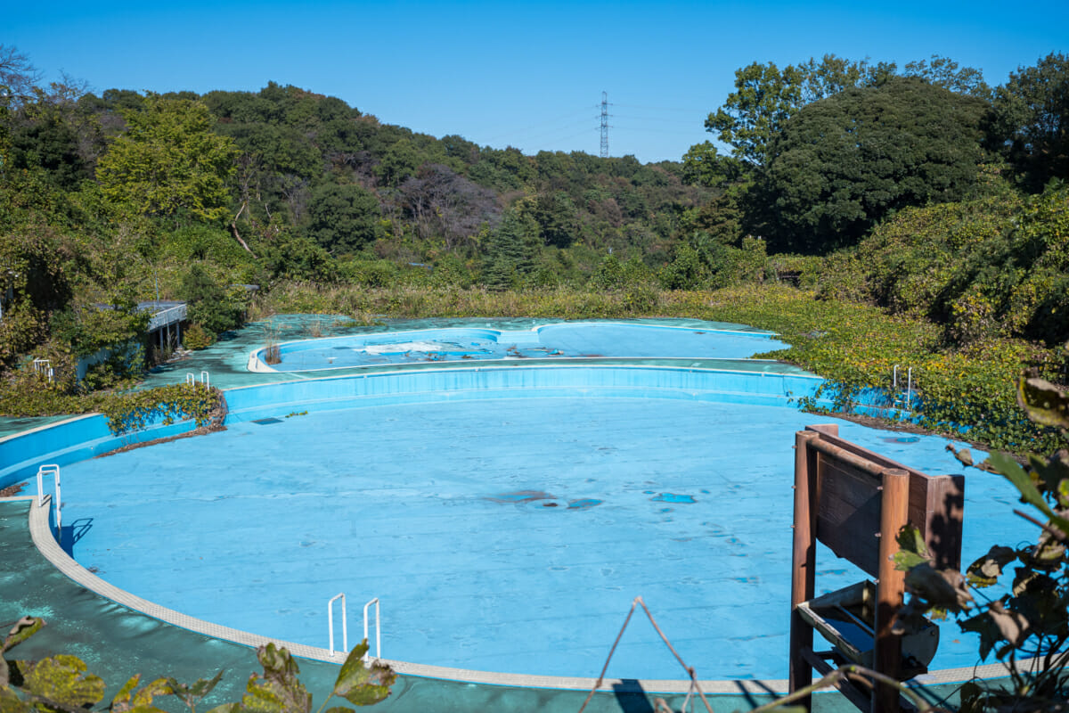 An abandoned and overgrown Japanese theme park
