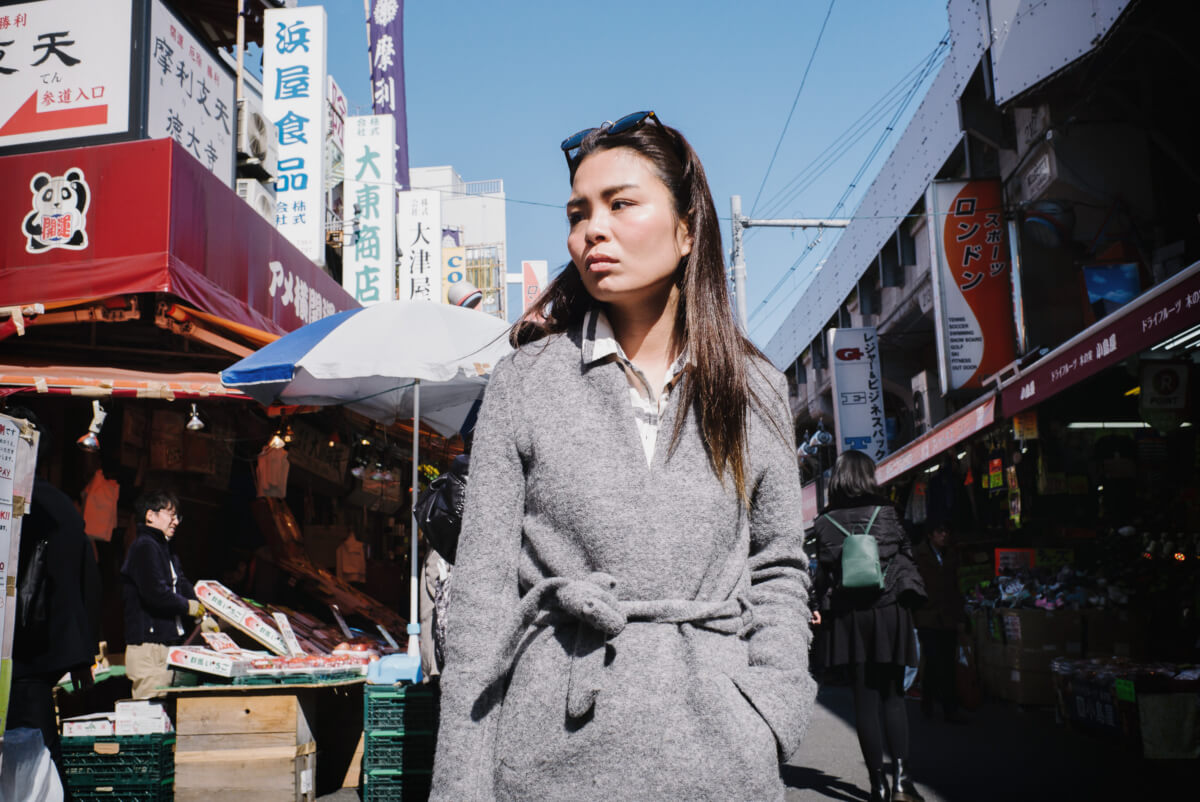 beautiful woman in an old Tokyo shopping street