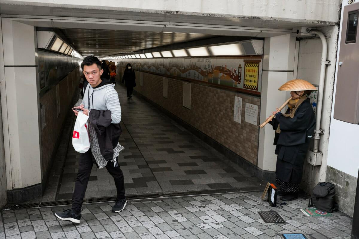 Buddhist street musician in Tokyo