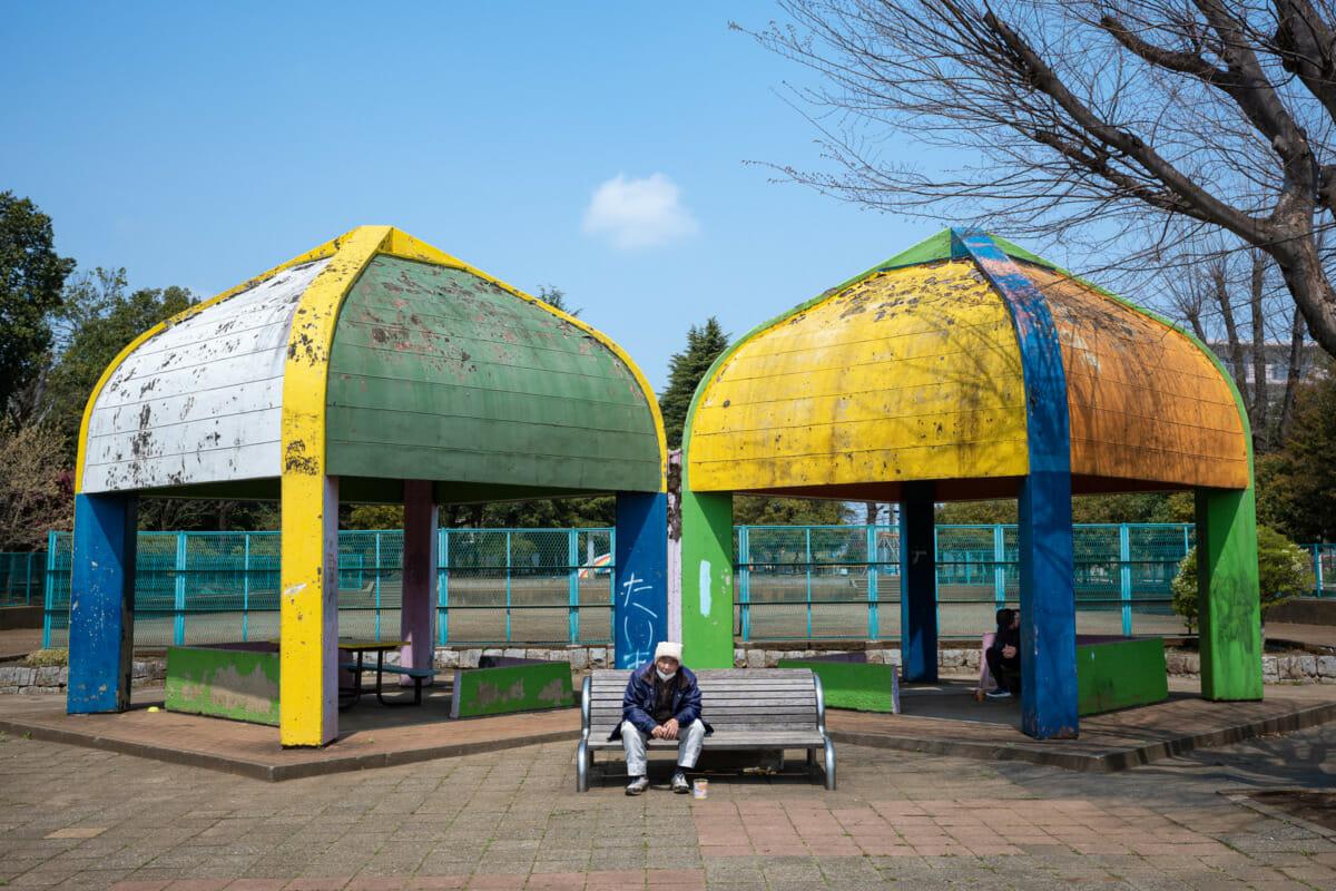 a colourful but grim Tokyo park