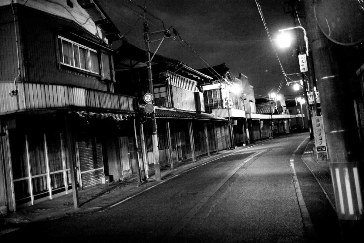old empty and shuttered Japanese street