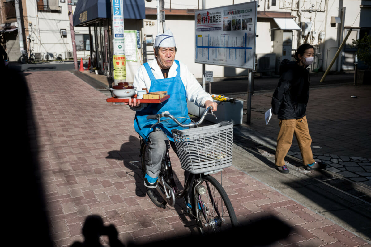 Food delivered traditionally by bicycle in Tokyo