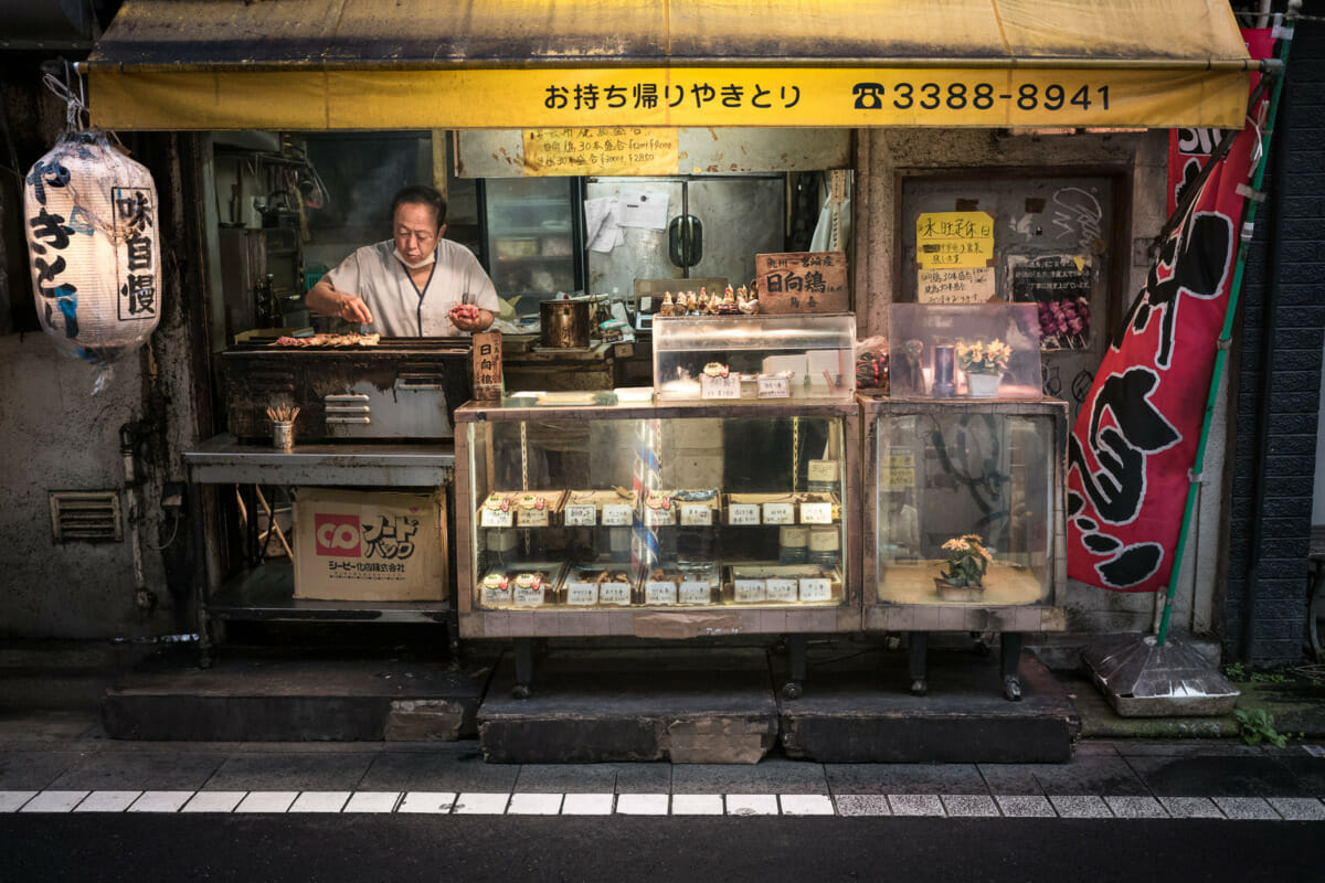 an old and grubby Tokyo yakitori shop