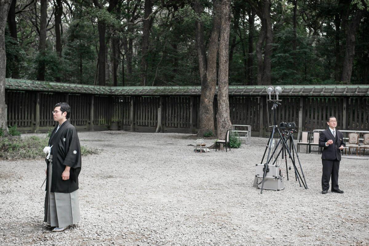 Japanese men waiting