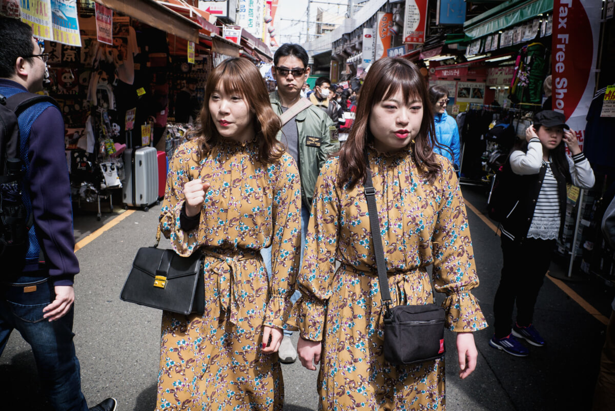 Japanese twins or identically dressed Japanese women
