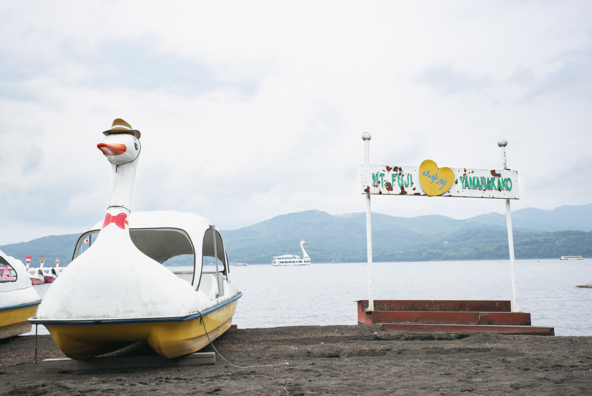 the surreal swan boats of mount fuji