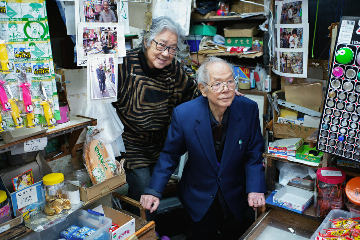 An old Japanese couple in their tiny old Tokyo shop