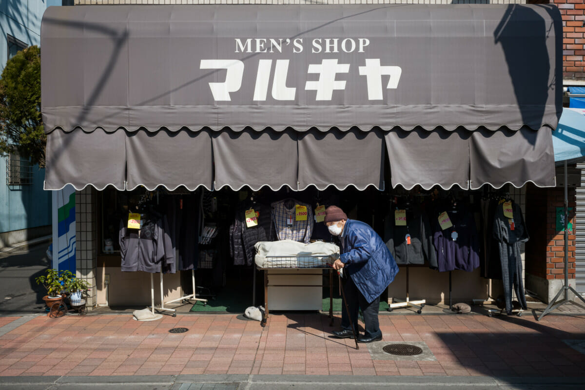An old-style Tokyo clothes shop