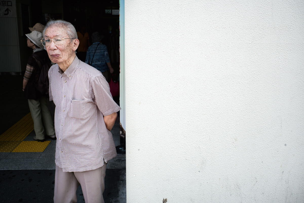 old Japanese man looks in Tokyo