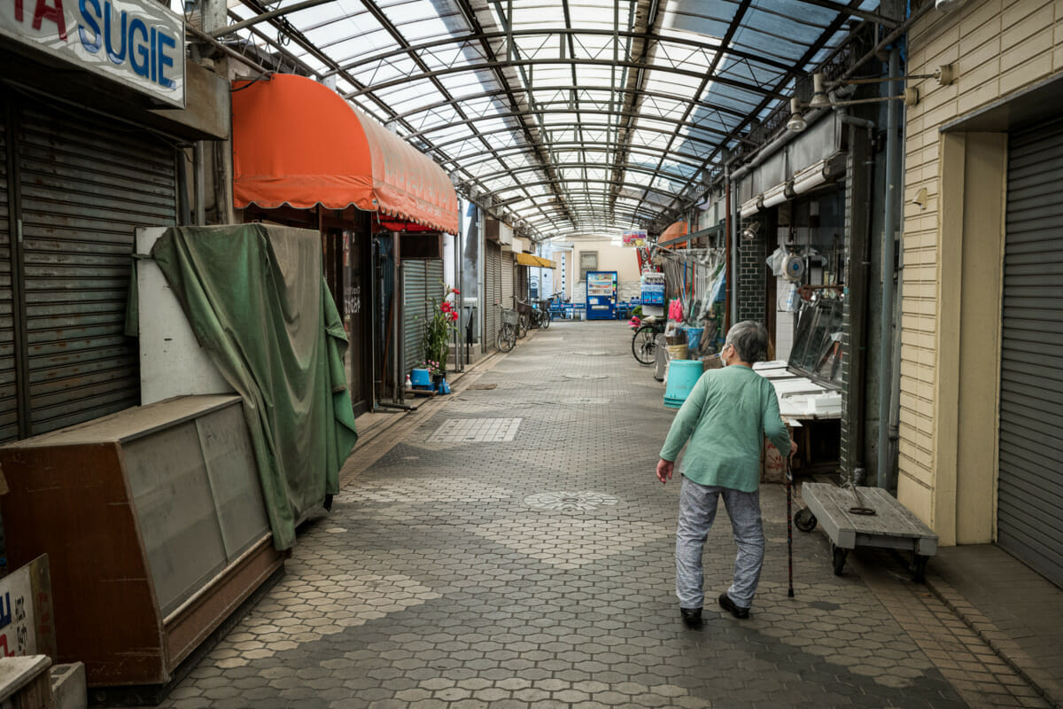 a derelict old Tokyo shopping district