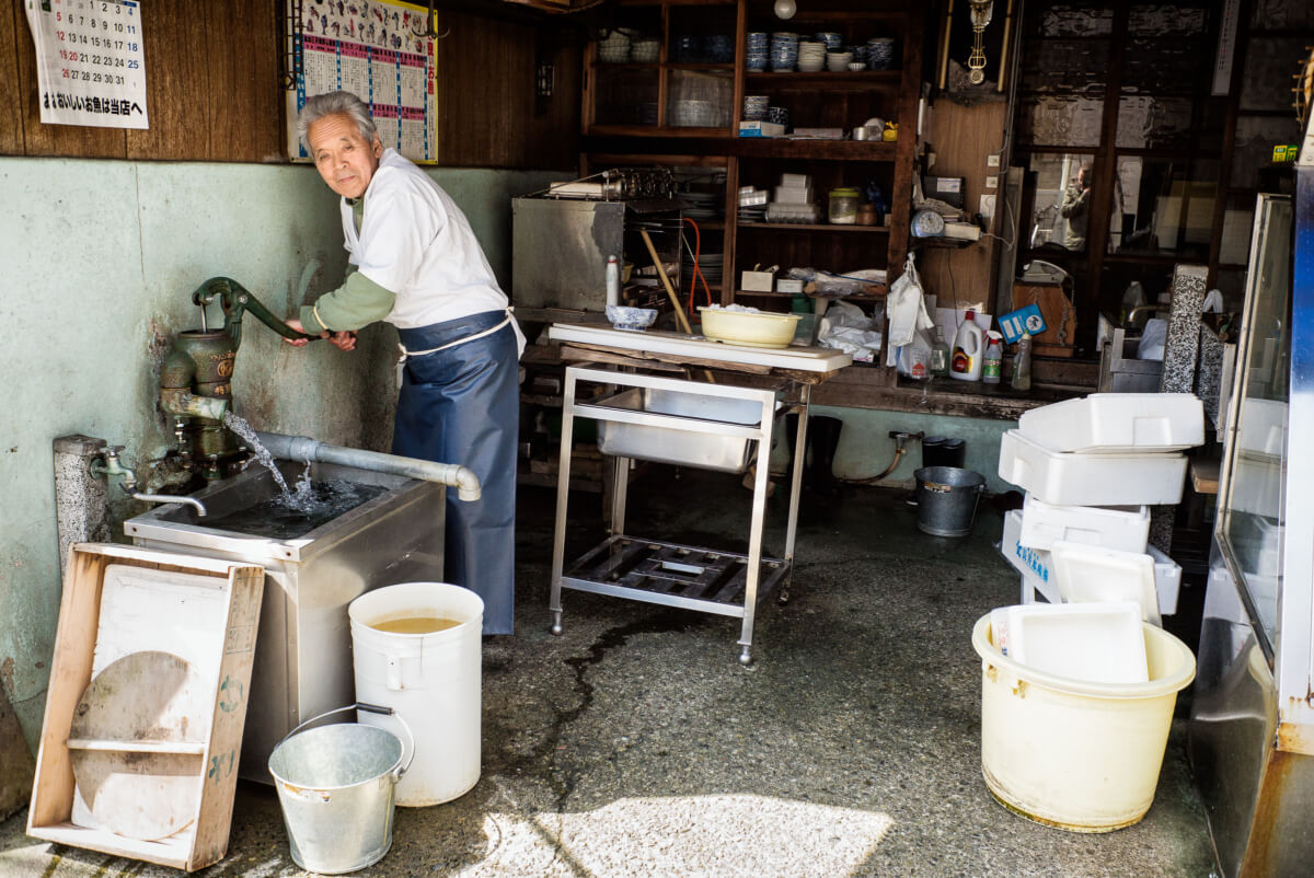 an old and very traditional Japanese fish shop